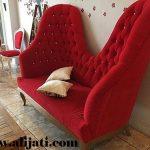 sofa unik mewah terbaru jok bludru merah