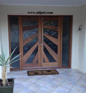 Pintu Rumah Full Kaca Kayu Jati Asli
