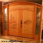 Pintu Rumah Minimalis Ukir Lukisan Kayu Jati