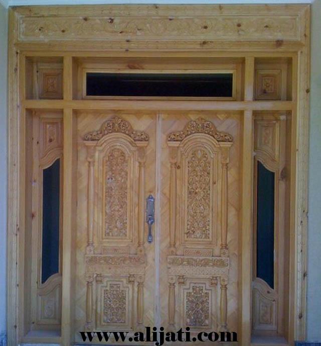 pintu rumah ukir minimalis kayu jati