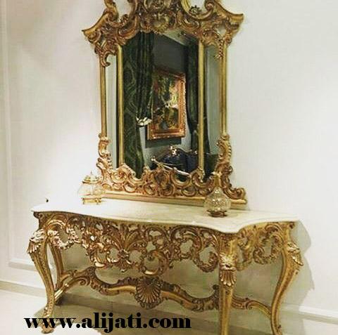 meja rias klasik cat emas melamin kayu jati
