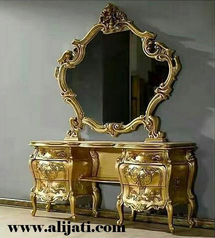 meja rias mewah cat emas melamin Kayu jati