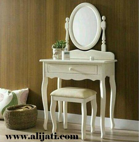 meja rias simple cat duco putih