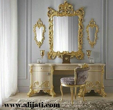 meja rias super mewah cat emas melamin