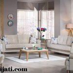 sofa minimalis cat natural melamin kayu jati