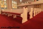 Bangku Gereja Mewah Panjang Cat Duco Putih