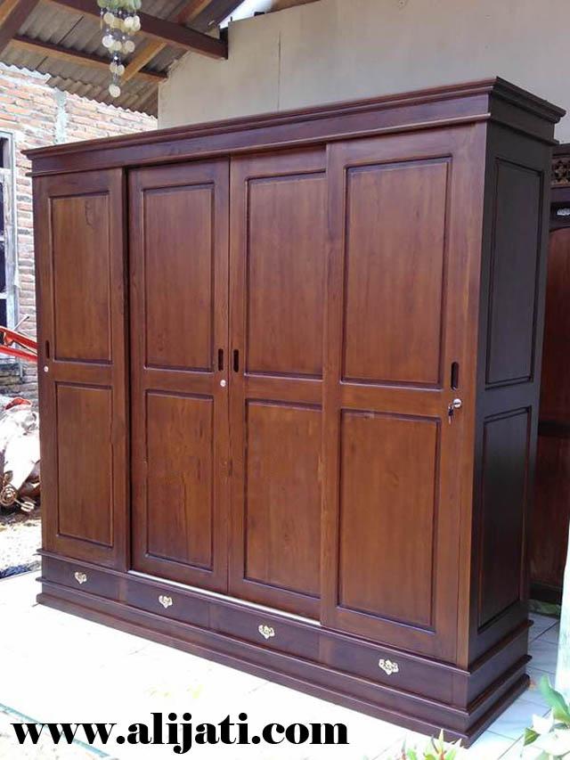 lemari pakaian 4 pintu sleding kayu jati