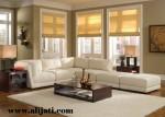 Sofa Sudut Mewah Warna Putih Kayu Jati